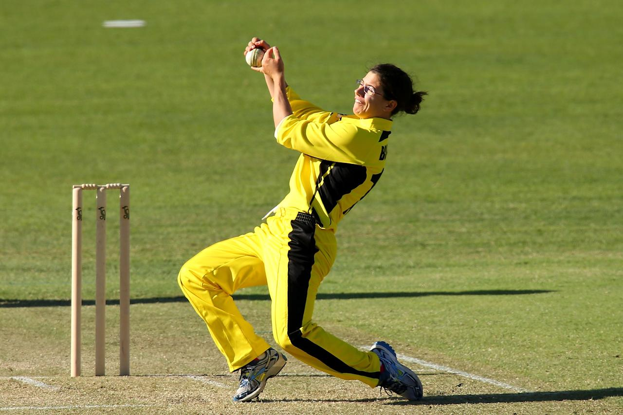 PERTH, AUSTRALIA - OCTOBER 12:  Nicole Bolton of the Fury takes a catch to dismiss Kate Waetford of the Meteors during the WNCL match between the Western Australia Fury and the ACT Meteors at the WACA on October 12, 2013 in Perth, Australia.  (Photo by Paul Kane/Getty Images)