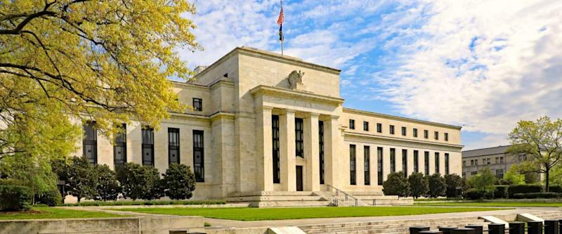 Federal Reserve building in Washington, DC., in the Spring