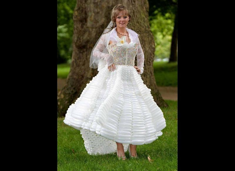 Vicky Levett wearing the Kate Middleton wedding dress that her mother Thelma Levett made out of balloons. Thelma Levett lives in a balloon world. She has spent the last 15 years making everyday objects out of balloons. She has just mad a Kate Middleton wedding dress out of 5000 balloons.