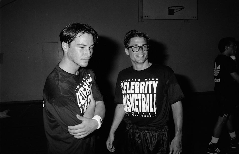 Rob Lowe and Reeves play in a celebrity basketball game.