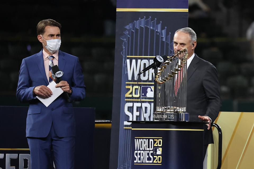 MLB commissioner Rob Manfred booed during World Series ceremony and didn't seem to like it. (Photo by Rob Carr/Getty Images)