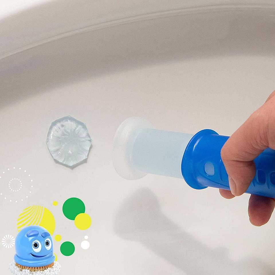 """This willpolish your toilet with each flush. The stamp releases the cleaning gel, which foams and cleans your toilet.<br /><br /><strong>Promising review:</strong>""""I was sooo skeptical and was confused about how they'd work but the gel solidifies and<strong>with every flush, suds wash through with the water and it really makes a fresh difference</strong>. Also the scent is light but really nice and fresh! I recommend these 100%! They're super interesting but they do the job."""" --<a href=""""https://amzn.to/3h7KzoA"""" target=""""_blank"""" rel=""""noopener noreferrer"""">Janet</a><br /><br /><strong>Get it from Amazon for <a href=""""https://amzn.to/33joDyM"""" target=""""_blank"""" rel=""""noopener noreferrer"""">$3.97</a>.</strong>"""
