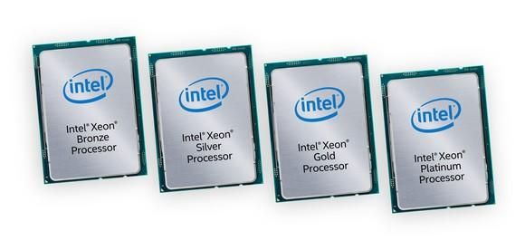 Four Intel Xeon Scalable processors lined up.