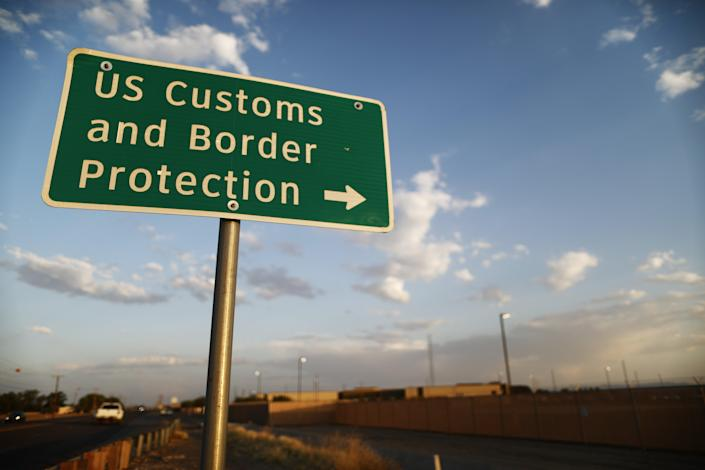 <p> U.S. Customs and Border Protection (CBP) sign is posted outside the U.S. Border Patrol station (R) where lawyers reported that detained migrant children were held unbathed and hungry on June 25, 2019 in Clint, Texas. </p> (Photo by Mario Tama/Getty Images)