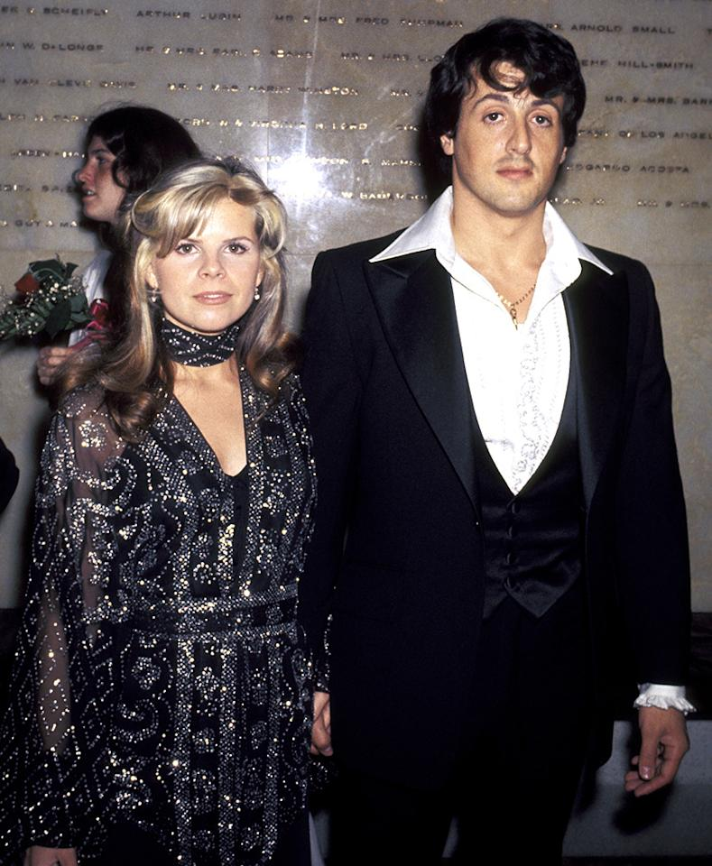 <p>Stallone, arriving to the Oscars with first wife Sasha, was nominated for Best Actor and Best Original Screenplay for <i>Rocky</i>. (Photo: Ron Galella/WireImage)</p>