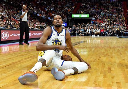 Feb 27, 2019; Miami, FL, USA; Golden State Warriors forward Kevin Durant (35) reacts against the Miami Heat during the second half at American Airlines Arena. Mandatory Credit: Steve Mitchell-USA TODAY Sports