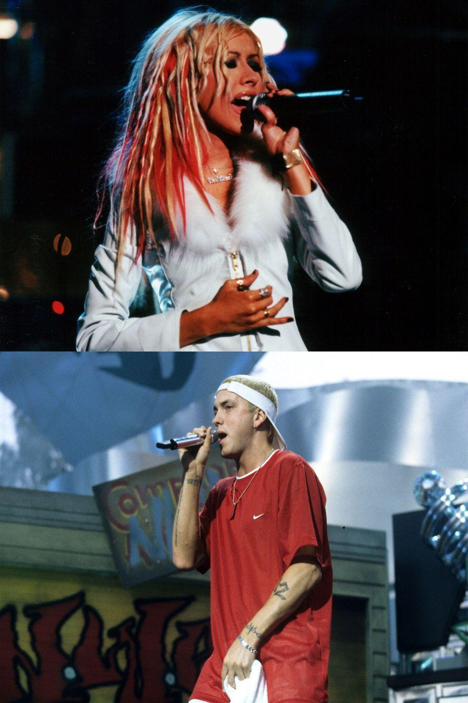 "<p>Eminem got real shady when he dropped this jaw-dropping line in ""The Real Slim Shady"": ""Christina Aguilera better switch me chairs, so I can sit next to Carson Daly and Fred Durst, and hear 'em argue over who she gave head to first."" Aguilera did not take kindly to the accusation, <a href=""http://www.mtv.com/news/821531/correction-aguilera-responds-to-eminem/"" rel=""nofollow noopener"" target=""_blank"" data-ylk=""slk:telling MTV News"" class=""link rapid-noclick-resp"">telling MTV News</a>, ""It's disgusting and offensive and above all it's not true."" Two years later, Aguilera released the feminist anthem ""Can't Hold Us Down,"" which <a href=""http://www.nytimes.com/2002/09/08/arts/the-new-season-music-idol-returns-her-image-remade.html?pagewanted=all&src=pm"" rel=""nofollow noopener"" target=""_blank"" data-ylk=""slk:presumably references"" class=""link rapid-noclick-resp"">presumably references</a> Eminem when the pop star sings, ""It's sad you only get your fame through controversy.""</p>"