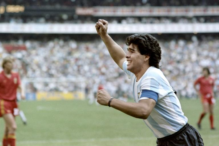 Maradona celebrates after scoring in the 1986 World Cup semi-final against Belgium
