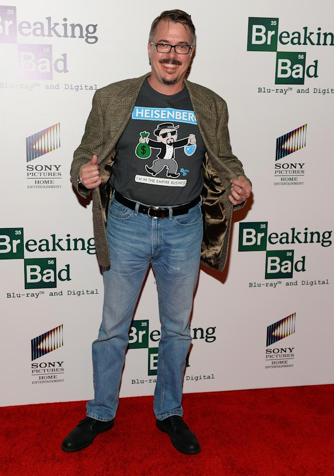"LOS ANGELES, CA - NOVEMBER 25: Creator Vince Gilligan arrives at the screening of ""No Half Measures: Creating The Final Season Of Breaking Bad"" DVD Launch at Pacific Theatres at the Grove on November 25, 2013 in Los Angeles, California. (Photo by Mark Davis/Getty Images)"
