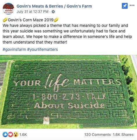 Facebook post from Govin's Farms reads: ????Govin's Corn Maze 2019???? We have always picked a theme that has meaning to our family and this year suicide was something we unfortunately had to face and learn about. We hope to make a difference in someone's life and help them understand that they matter!