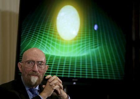 Dr. Kip Thorne of Caltech (R) listens during a news conference to discuss the detection of gravitational waves, ripples in space and time hypothesized by physicist Albert Einstein a century ago, in Washington February 11, 2016. REUTERS/Gary Cameron