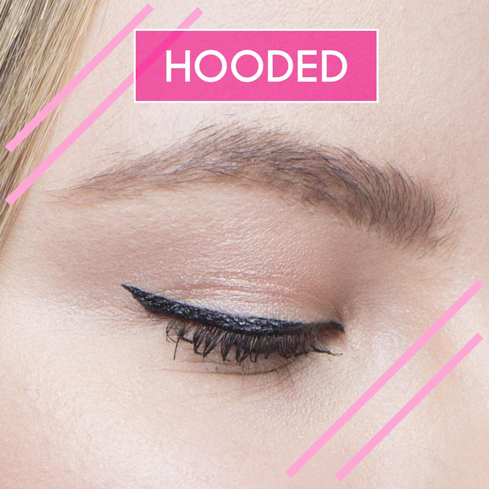 """<p>Many folks with hooded eyes get anxious about <a rel=""""nofollow"""" href=""""http://www.goodhousekeeping.com/beauty/makeup/g3006/eye-makeup-tips/"""">eye makeup</a> (unfortunately, most makeup tutorials only show how shadow and liner look on eyes where the crease is exposed). Turns out, it's super easy to apply flawless winged eyeliner to hooded eyes. </p><p>To make sure the liner isn't concealed by your lid, create your tip where the lid's hood starts. Start from the outside first, then go inward, applying your liner in thin strokes and widening as desired.</p>"""