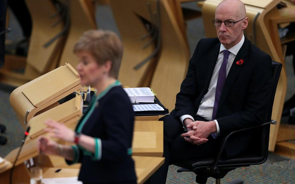 Nicola Sturgeon has delegated responsibility to John Swinney in dealing with the Salmond inquiry - RUSSELL CHEYNE/Reuters