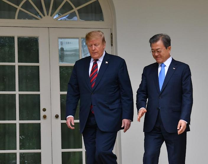Both President Donald Trump and South Korean Moon Jae-in are heavily invested in bringing North Korea out of the cold but the unsuccessful summit in Vietnam was a setback for the two allies that has yet to be resolved (AFP Photo/Nicholas Kamm)