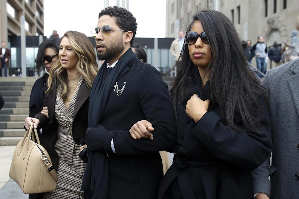 Jussie Smollett leaves Leighton Criminal Courthouse on 24 February 2020 in Chicago, Illinois: Nuccio DiNuzzo/Getty Images