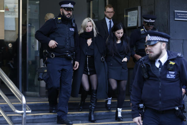 Love Island presenter Caroline Flack leaves Highbury Corner Magistrates Court on December 23, 2019 in London, England. The Love Island host attended court after being charged with assault by beating following an argument with boyfriend Lewis Burton. (Photo by Hollie Adams/Getty Images)