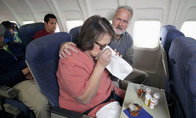 If there are sick passengers on your flight, they may spread their germs to aisle seats. Photo: Thinkstock