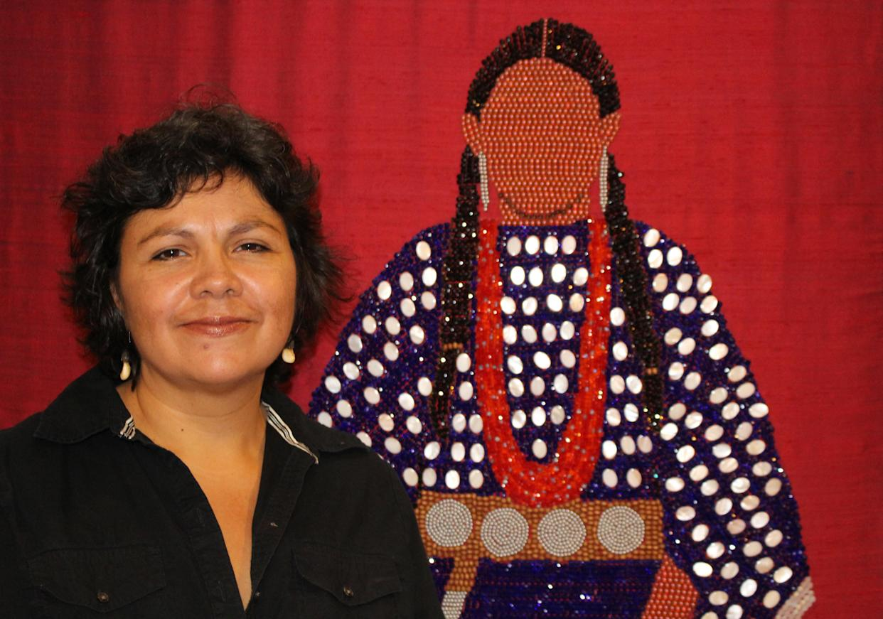 Teri Greeves with one of her artworks. (Photo: courtesy Carol Franco/Native Treasures Indian Art Festival)