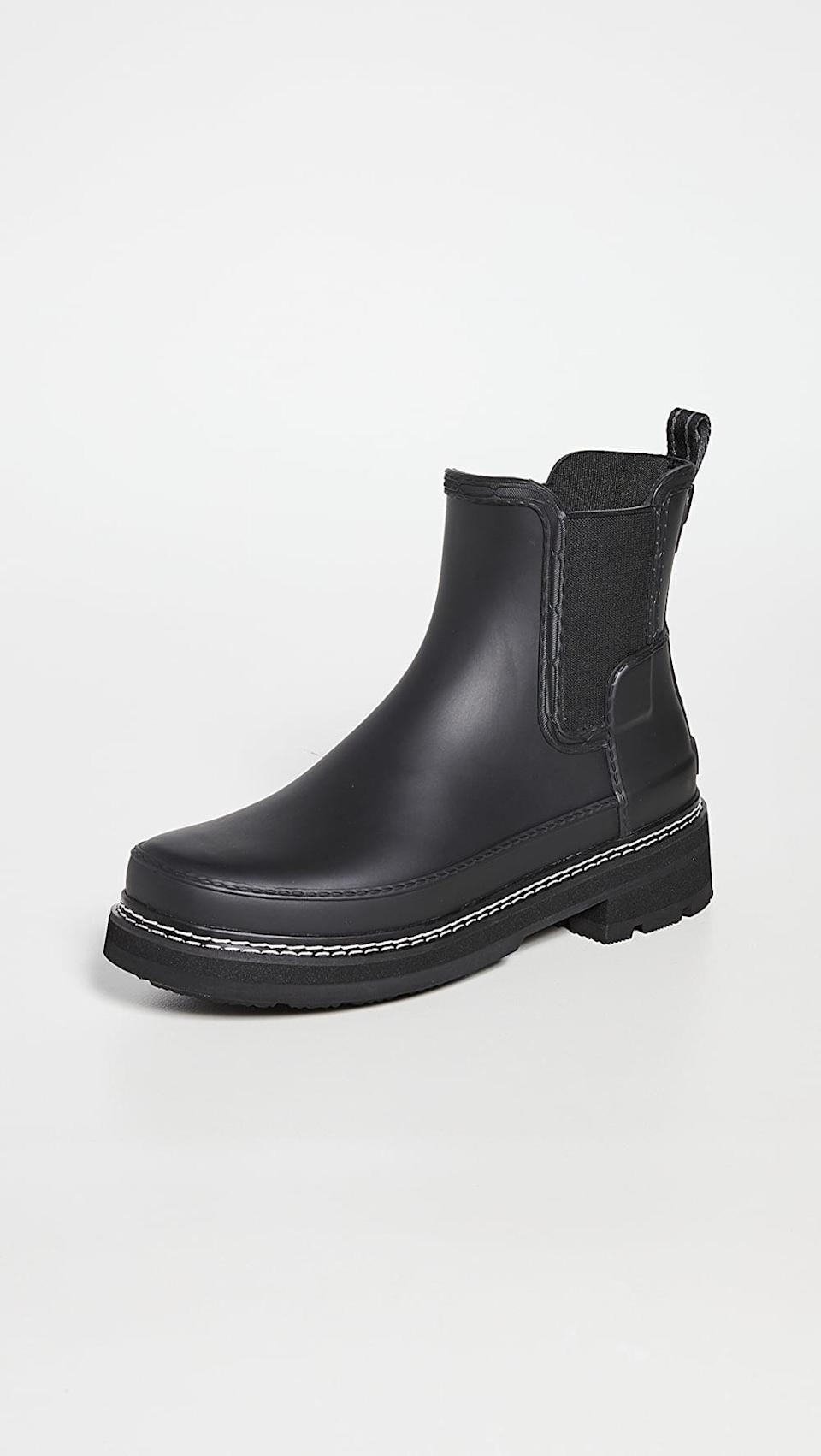 <p>These <span>Hunter Boots Refined Chelsea Stitch Detail Wellington Boots</span> ($175) are so cute, they look like normal boots!</p>