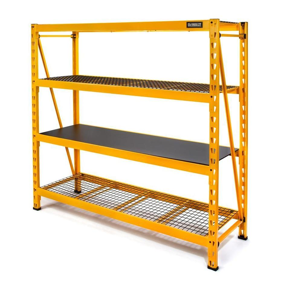 """<p><strong>DEWALT</strong></p><p>homedepot.com</p><p><strong>$294.42</strong></p><p><a href=""""https://go.redirectingat.com?id=74968X1596630&url=https%3A%2F%2Fwww.homedepot.com%2Fp%2FDEWALT-Yellow-4-Tier-Steel-Garage-Storage-Shelving-Unit-77-in-W-x-72-in-H-x-24-in-D-DXST10000%2F302361205&sref=https%3A%2F%2Fwww.popularmechanics.com%2Fhome%2Fg37190947%2Fbest-garage-storage-ideas%2F"""" rel=""""nofollow noopener"""" target=""""_blank"""" data-ylk=""""slk:Shop Now"""" class=""""link rapid-noclick-resp"""">Shop Now</a></p><p>The heaviest of items in your garage will be safe and secure in this heavy-duty shelving unit made by DEWALT. Measuring 72 inches in height, 77 inches in width and 24 inches in depth, this 4-shelf storage solution can hold a maximum of 10,000 pounds — 2,500 pounds per shelf when evenly distributed. Its crossbeams, support straps, brackets also add to the design's sturdiness. Use a wall anchor to secure it from accidental tipping for extra safety.</p><p>When you install, you can customize the shelf heights yourself. Complement your storage with plastic bins for better organization.</p>"""