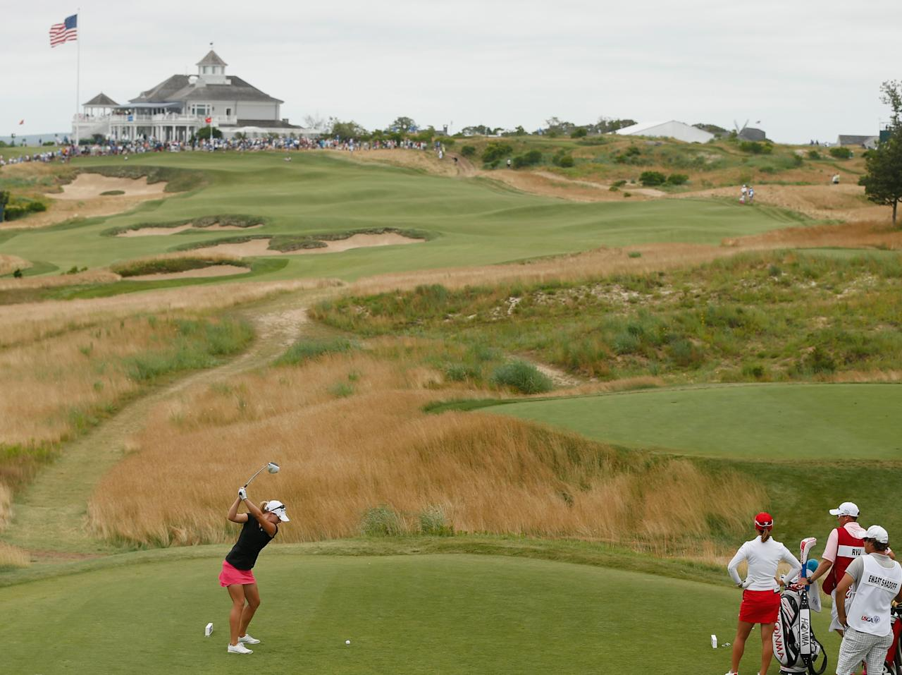 SOUTHAMPTON, NY - JUNE 30: Jodi Ewart Shadoff of England hits her tee shot on the second hole during the final round of the 2013 U.S. Women's Open at Sebonack Golf Club on June 30, 2013 in Southampton, New York. (Photo by Scott Halleran/Getty Images)