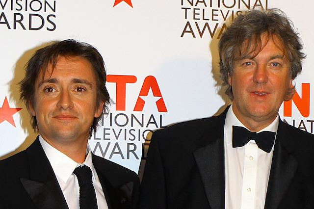 Top Gear presenters Richard Hammond (left), James May (centre) and Jeremy Clarkson in the press room at the 2011 National Television Awards at the O2 Arenea, London. ... National Television Awards 2011 - Press Room - London ... 26-01-2011 ... London ... United Kingdom ... Photo credit should read: Gareth Fuller/PA Archive. Unique Reference No. 10093283 ...