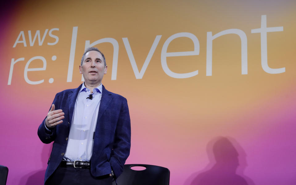 AWS CEO Andy Jassy, discusses a new initiative with the NFL that will transform player health and safety using cloud computing during AWS re:Invent 2019 on Thursday, Dec. 5, 2019 in Las Vegas. (Isaac Brekken/AP Images for NFL)