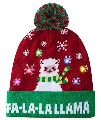 LED Christmas Hat Awesome Light-Up FA-LA-LA Llama Knitted Ugly Sweater Holiday Xmas Sheep Beanie Winter Warm Colorful Lights Flashing Hat Knit Cap Christmas Decorations for Youth Men Women (Amazon / Amazon)