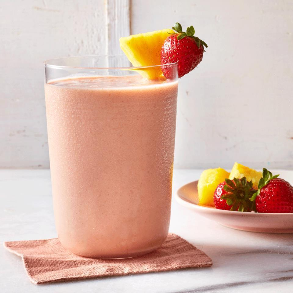 <p>Blend almond milk, strawberry and pineapple for a smoothie that's so easy you can make it on busy mornings. A bit of almond butter adds richness and filling protein. Freeze some of the almond milk for an extra-icy texture.</p>