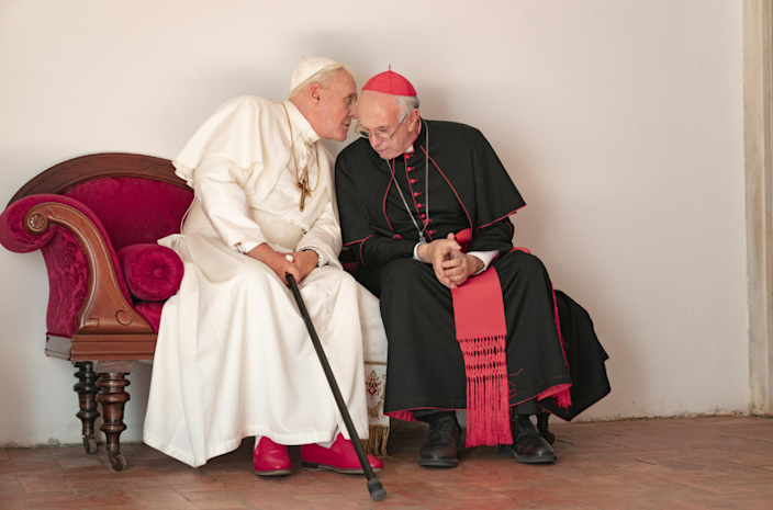 Sir Anthony Hopkins and Jonathan Pryce in The Two Popes (Credit: Netflix)