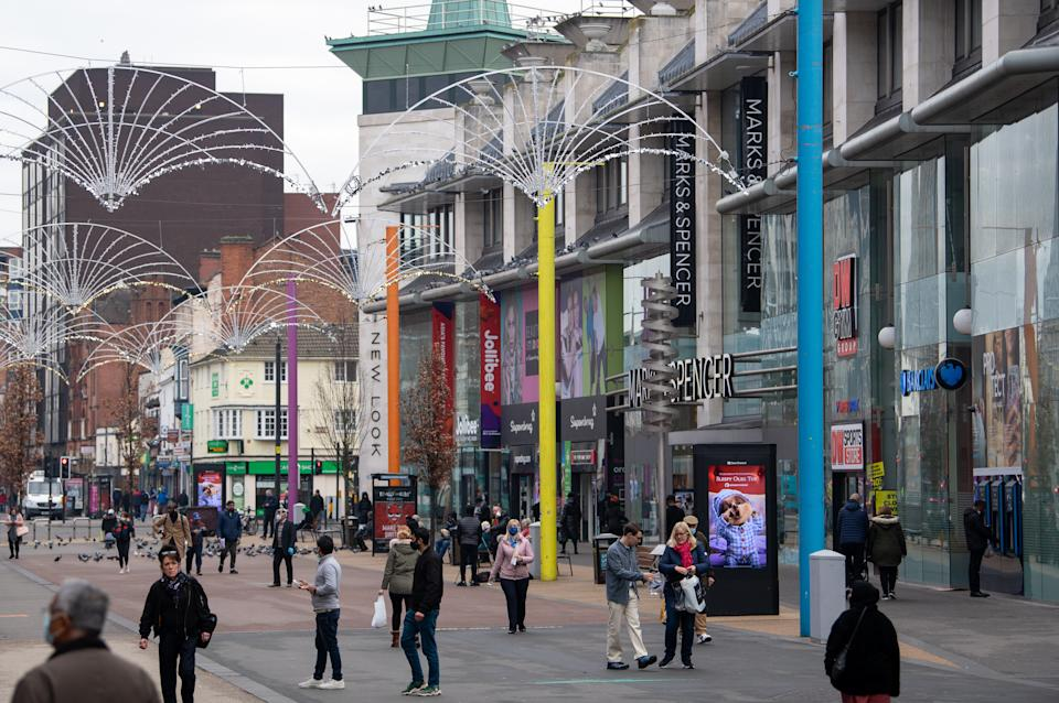 Shoppers on Humberstone Gate in the centre of Leicester, which has endured 150 days of extra lockdown, during the final week of a four week national lockdown to curb the spread of coronavirus.