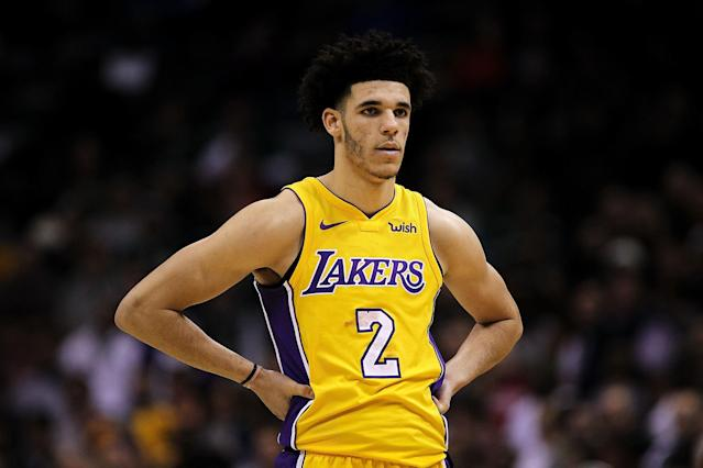 "Just a hand on a hip is enough <a href=""https://www.instagram.com/maxisnicee/p/BnH5oM7Hqba/"">to find humor in Lonzo Ball</a>. And, of course, his shot. (Photo by Dylan Buell/Getty Images)"