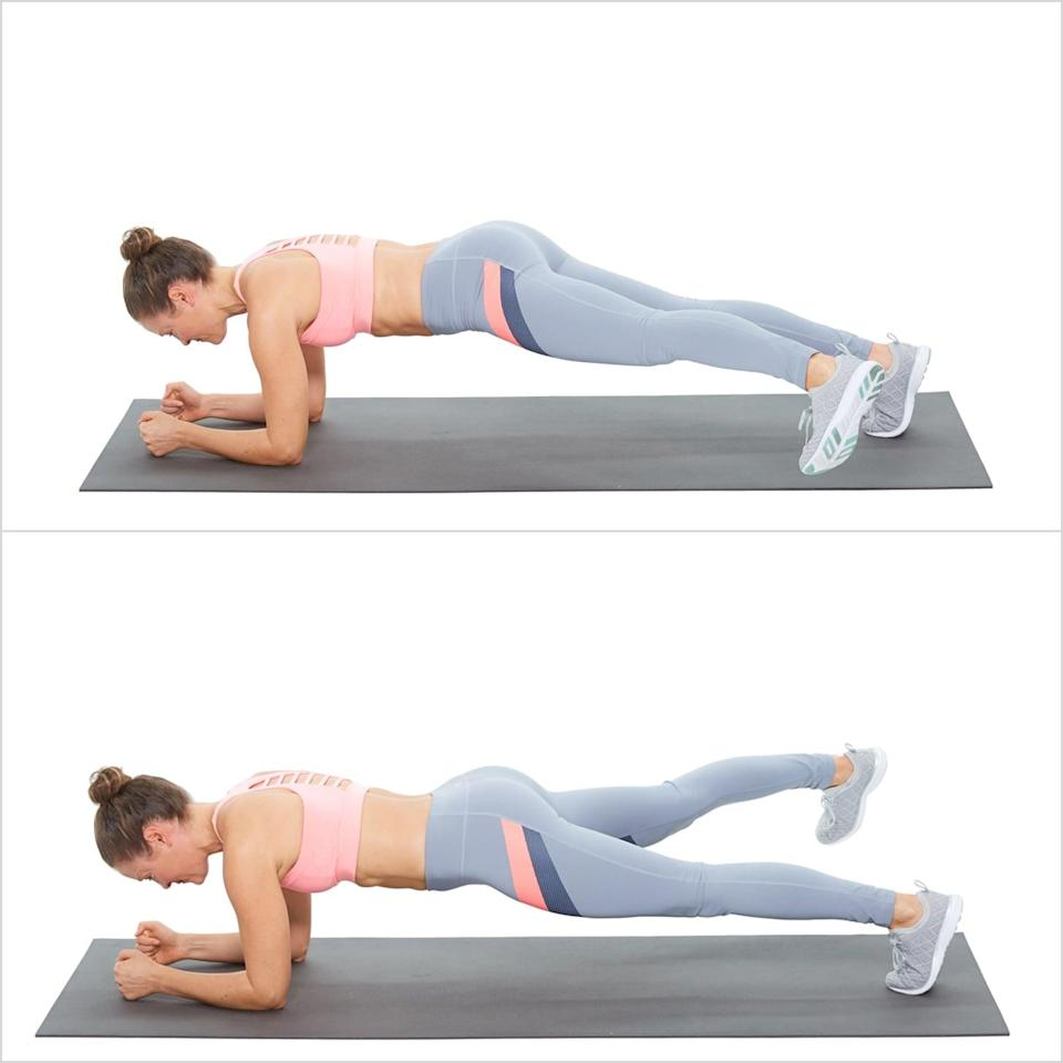 <ul> <li>Start in an elbow plank and alternate stepping your legs to the side, keeping your toes off the floor. To modify, tap your toes to the floor.</li> </ul>