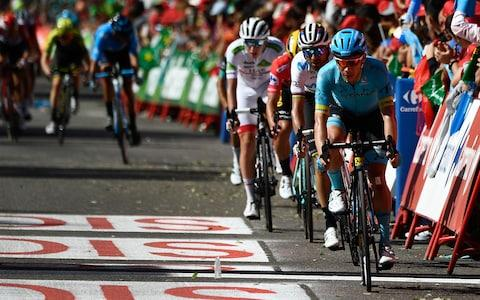 <span>Miguel Ángel López (right to left), Alejandro Valverde, Primoz Roglic and Tadej Pogacar lead a quartet of the main protagonists over the line at the end of stage 17 at theVuelta a España</span> <span>Credit: Getty Images </span>