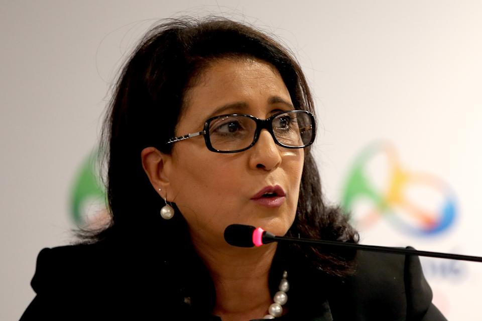 Nawal El Moutawakel, IOC Member from Morocco and Commission Chair, fields questions from the media at a press conference during a meeting of the IOC Coordination Committee at the Marapendi Windsor Hotel April 13, 2016 in Barra da Tijuca, Rio de Janeiro, Brazil.  (Photo by Matthew Stockman/Getty Images)