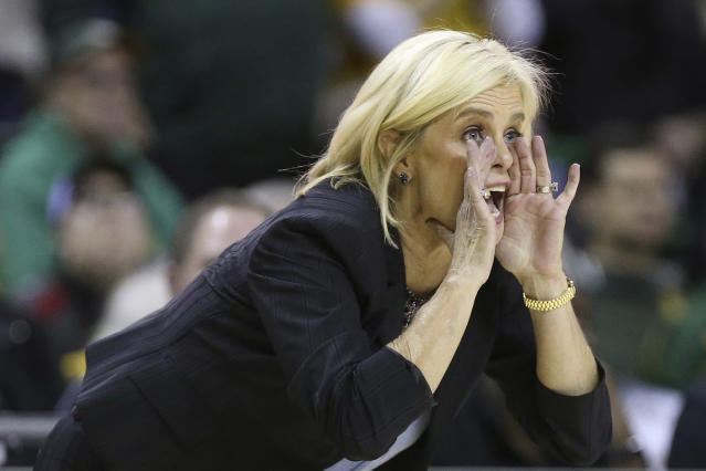 Baylor head coach Kim Mulkey shouts to her players in the first half of an NCAA college basketball game against TCU, Wednesday, Feb. 12, 2020, in Waco, Texas. (AP Photo/Jerry Larson)