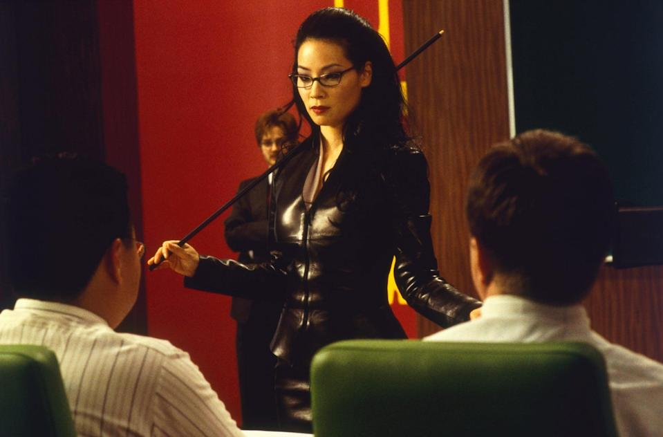 <p>Lucy Lui means in business in this leather suit.</p>