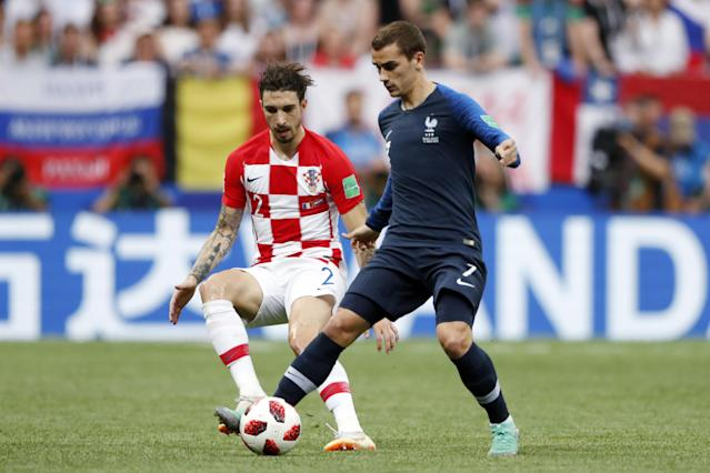 ime Vrsaljko of Croatia, Antoine Griezmann of France during the 2018 FIFA World Cup Russia Final match between France and Croatia at the Luzhniki Stadium on July 15, 2018 in Moscow, Russia. (Getty Images)