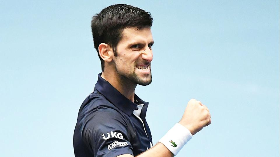 Novak Djokovic (pictured) celebrating a point at the Vienna Open.