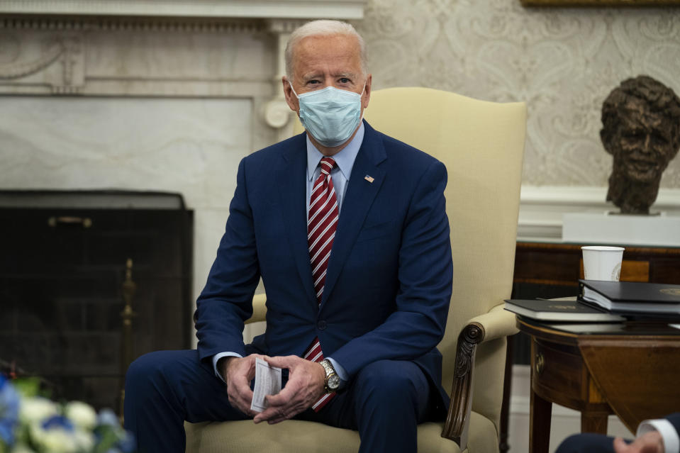 President Joe Biden speaks during a meeting with lawmakers on investments in infrastructure, in the Oval Office of the White House, Thursday, Feb. 11, 2021, in Washington. (AP Photo/Evan Vucci)