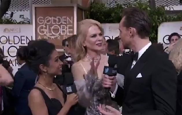 Later, Nicole interrupted an interview with Tom Hiddleston.