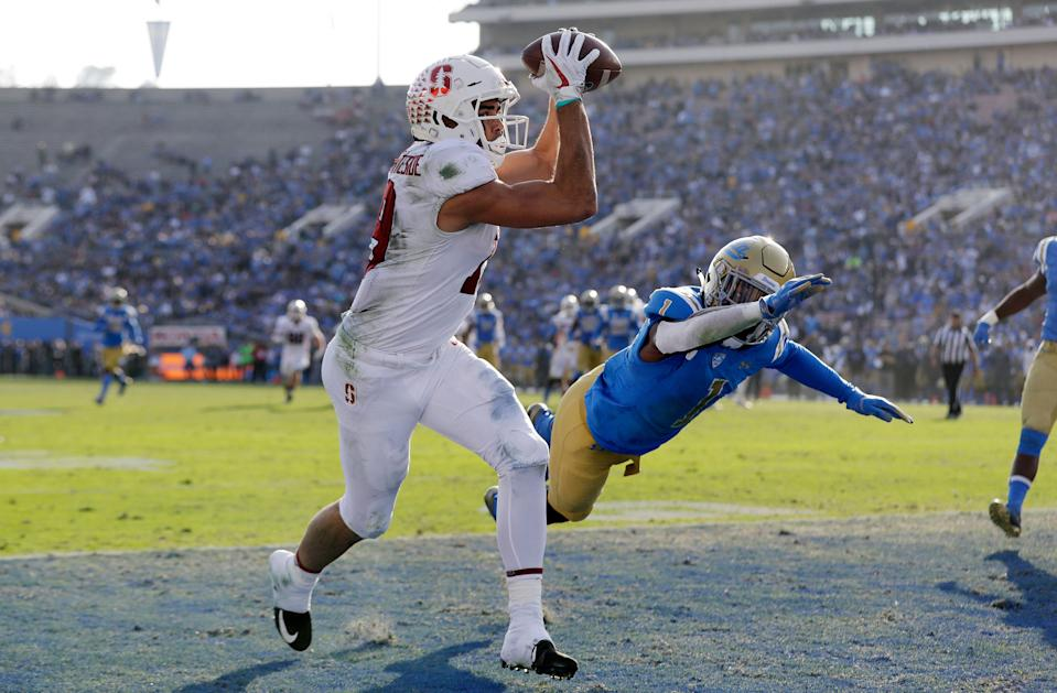 It's not hard to imagine Stanford wide receiver J.J. Arcega-Whiteside catch jump balls from Drew Brees (AP Photo)