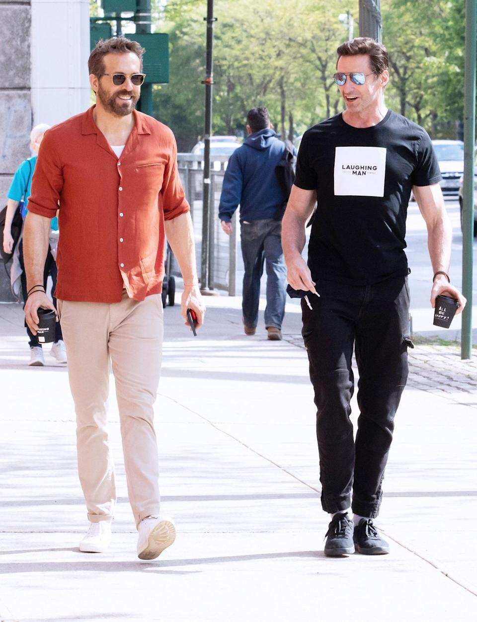 <p>Ryan Reynolds and Hugh Jackman grab lunch on Tuesday together in N.Y.C. </p>