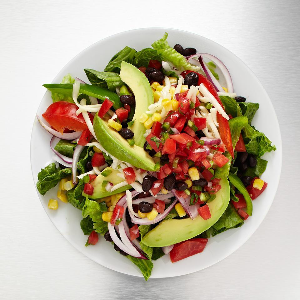 <p>Get all the protein -- 17 grams -- you need without the fat and cholesterol. Loaded with fiber-filled beans, sweet corn, crunchy sweet pepper, smooth avocado, and spicy pico de gallo, this bold salad will satisfy your taste buds and appetite.</p>