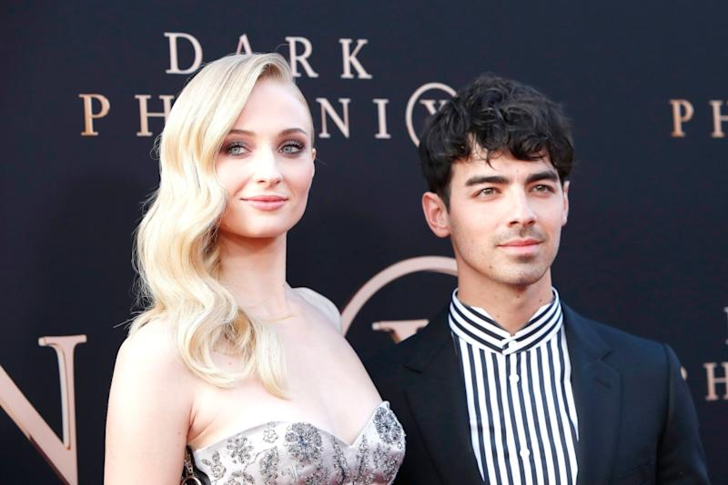 Sophie Turner and Joe Jonas Match in Stripes at the 'Dark