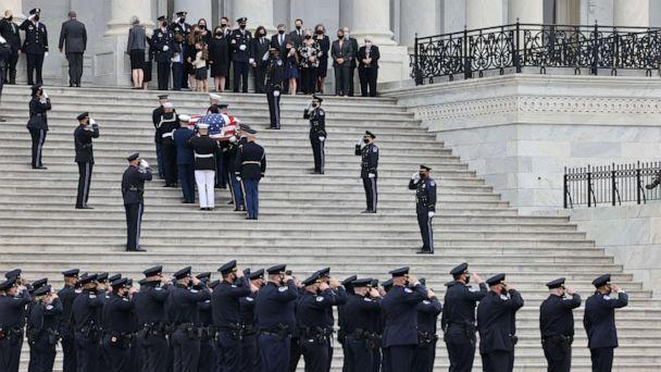 PHOTO: A casket containing the remains of Capitol Police officer William Evans, who was killed in the line of duty on April 2, arrives for a ceremony honoring the officer at the Capitol in Washington, April 13, 2021. (Evelyn Hockstein/Reuters)