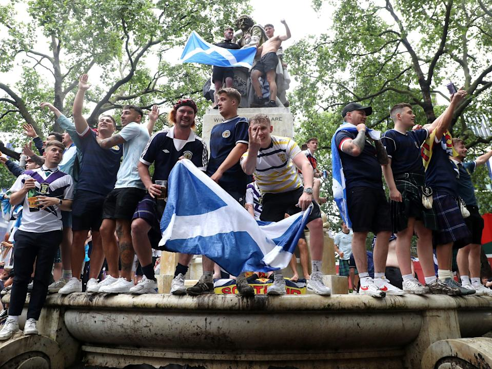 Scotland fans gather in Leicester Square before the UEFA Euro 2020 match between England and Scotland (Kieran Cleeves/PA)