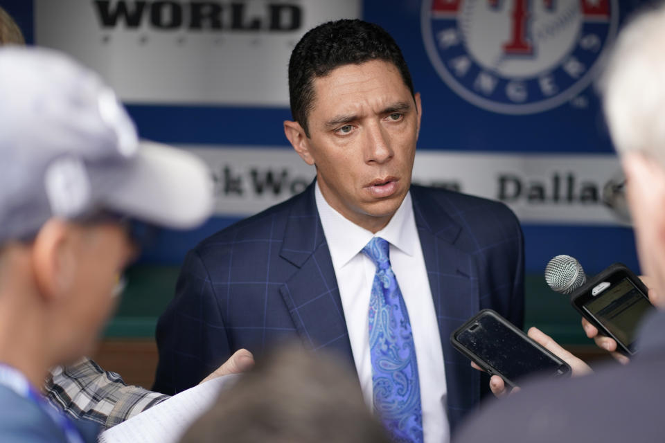 ARLINGTON, TX - MARCH 28:  Texas Rangers general manager Jon Daniels speaks with members of the media before the game between the Chicago Cubs and the Texas Rangers at Globe Life Park in Arlington on Thursday, March 28, 2019 in Arlington, Texas. (Photo by Cooper Neill/MLB via Getty Images)