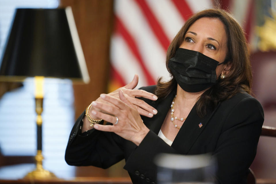 Vice President Kamala Harris speaks during a virtual meeting with outside national security experts in Vice President's ceremonial office at the Eisenhower Executive Office Building on the White House complex in Washington, Wednesday, April 14, 2021. (AP Photo/Carolyn Kaster)