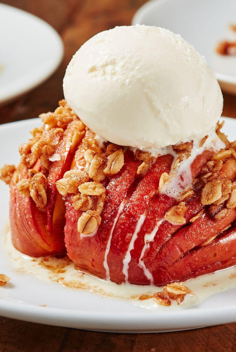 """<p>You need to try this hasselback trick with apples ASAP. It tastes like a cross between a <a href=""""https://www.delish.com/uk/cooking/recipes/a29756533/mcdonalds-apple-pie-recipe-del0313/"""" rel=""""nofollow noopener"""" target=""""_blank"""" data-ylk=""""slk:homemade apple pie"""" class=""""link rapid-noclick-resp"""">homemade apple pie</a> and a <a href=""""https://www.delish.com/uk/cooking/recipes/a30253890/healthy-apple-crumble/"""" rel=""""nofollow noopener"""" target=""""_blank"""" data-ylk=""""slk:warm apple crumble"""" class=""""link rapid-noclick-resp"""">warm apple crumble</a>. The best part: You don't need to deal with rolling out and chilling pie dough. </p><p>Get the <a href=""""https://www.delish.com/uk/cooking/recipes/a32262439/crustless-apple-pies-recipe/"""" rel=""""nofollow noopener"""" target=""""_blank"""" data-ylk=""""slk:Crustless Apple Pie"""" class=""""link rapid-noclick-resp"""">Crustless Apple Pie</a> recipe.</p>"""